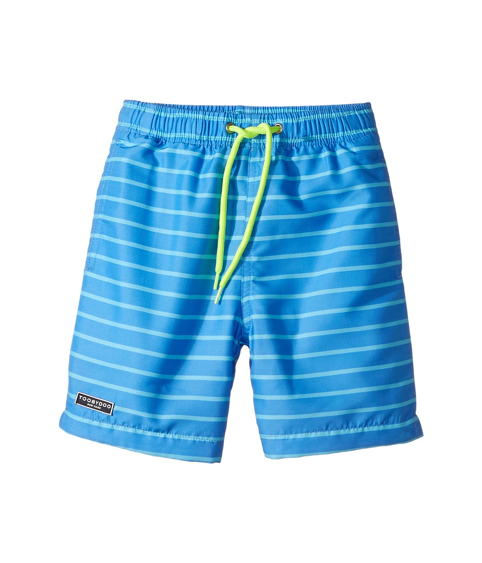 Toobydoo - Aqua Blue Pinstripe Swimsuit - Regular (Infant/Toddler/Little Kids/Big Kids) (Blue/Aqua Blue/Neon Yellow) Boy's Swimwear