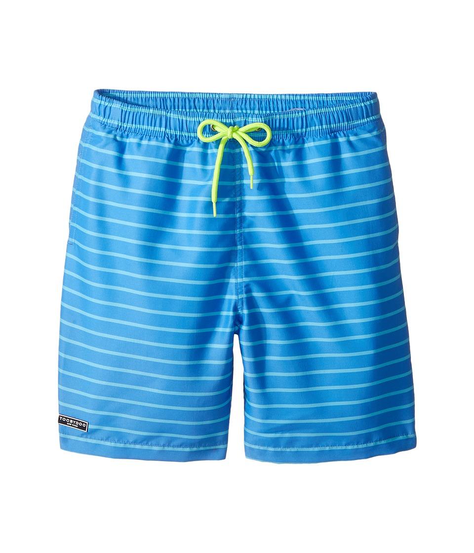 Toobydoo - Aqua Blue Pinstripe Swimsuit - Short (Infant/Toddler/Little Kids/Big Kids) (Blue/Aqua Blue/Neon Yellow) Boy's Swimwear