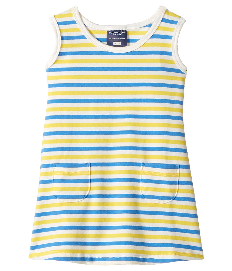 Toobydoo - Blue Yellow Stripe Baby Pocket Dress (Infant/Toddler) (Blue/Yellow/White) Girl's Dress