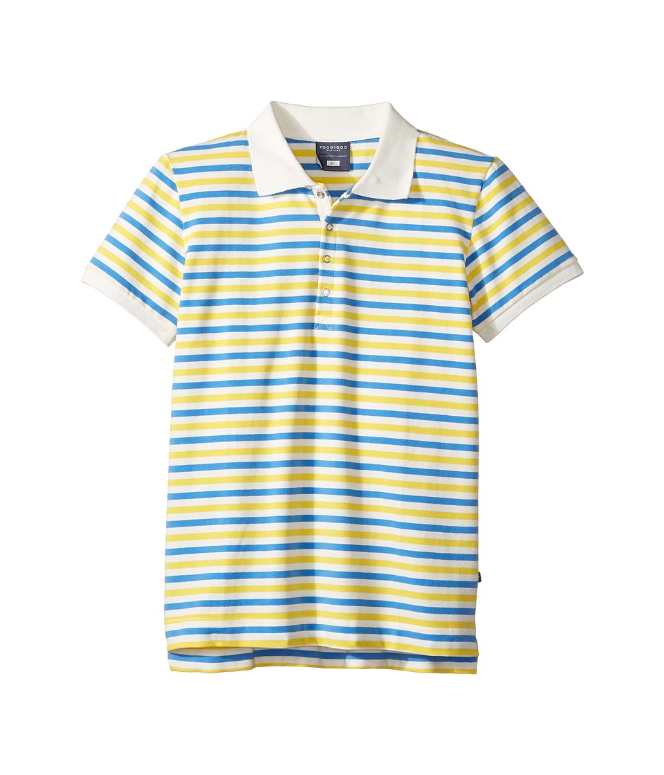 Toobydoo - Blue Yellow Stripe Short Sleeve Polo (Infant/Toddler/Little Kids/Big Kids) (Blue/Yellow/White) Boy's Short Sleeve Pullover