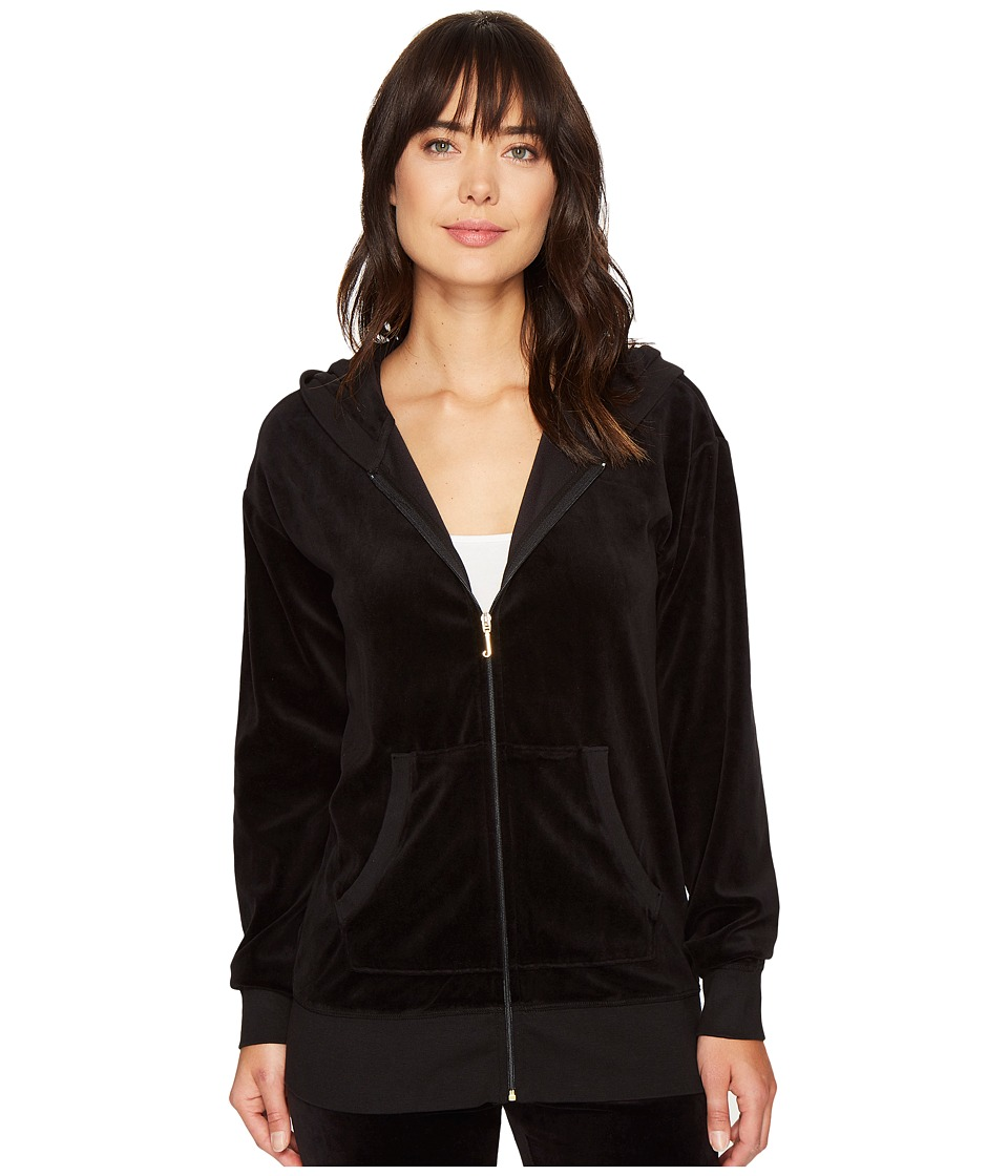 Juicy Couture - Beachwood Velour Jacket (Pitch Black) Women's Coat