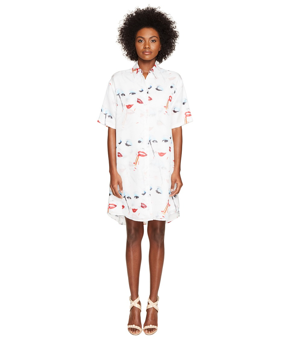 Jeremy Scott - Doll Face Collared Dress (White Face Print) Women's Dress