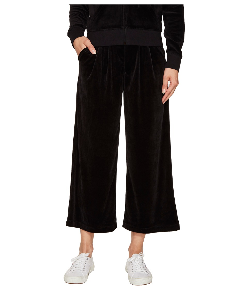 Juicy Couture - Lightweight Velour Cropped Wide Leg Trousers (Pitch Black) Women's Casual Pants