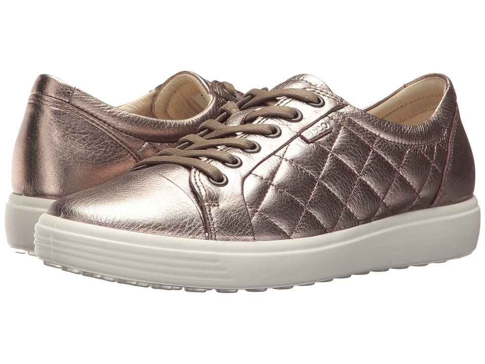 ECCO - Soft 7 Quilted Tie (Warm Grey) Women's Lace up casual Shoes