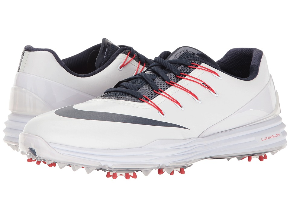 Nike Golf - Lunar Control 4 College (White/College Navy/University Red) Men's Golf Shoes