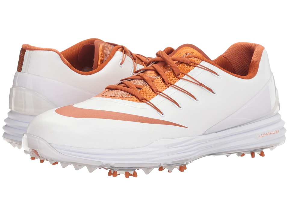 Nike - Lunar Control 4 College (White/Desert Orange/White) Men's Golf Shoes
