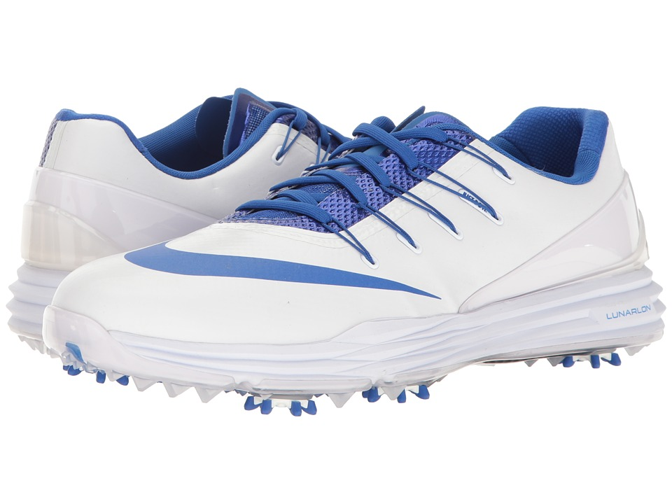 Nike - Lunar Control 4 College (White/Game Royal) Men's Golf Shoes