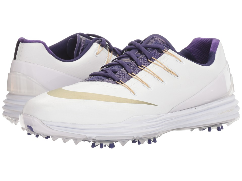 Nike Golf - Lunar Control 4 College (White/Metallic Gold Star/New Orchid) Men's Golf Shoes