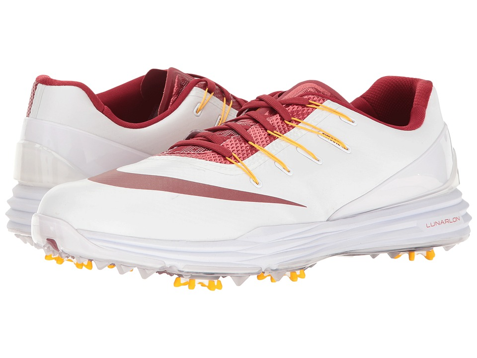 Nike Golf - Lunar Control 4 College (White/Team Crimson/University Gold) Men's Golf Shoes