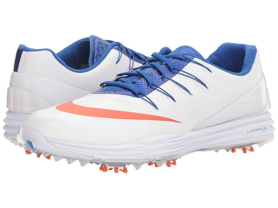 Nike Golf - Lunar Control 4 College (White/University Orange/Game Royal) Men's Golf Shoes