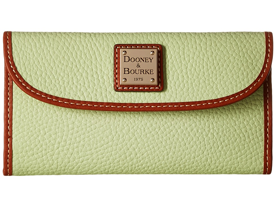 Dooney & Bourke - Pebble Leather New SLGS Continental Clutch (Key Lime/Tan Trim) Clutch Handbags