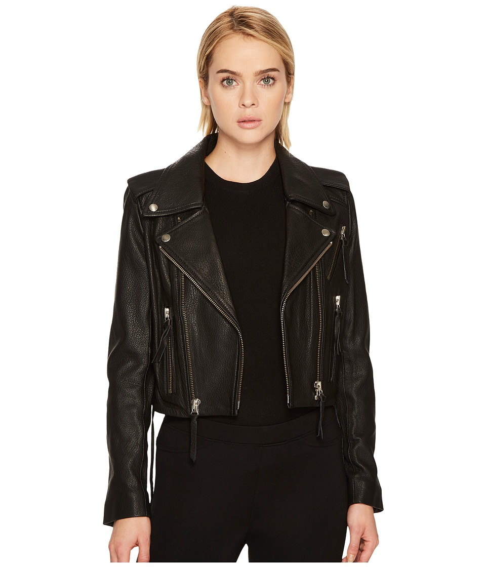 The Kooples - Leather Jacket with Stud Details and Leather Laces (Black) Women's Coat