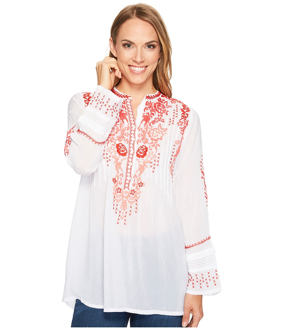 Johnny Was - Ross Red Tunic (White) Women's Blouse