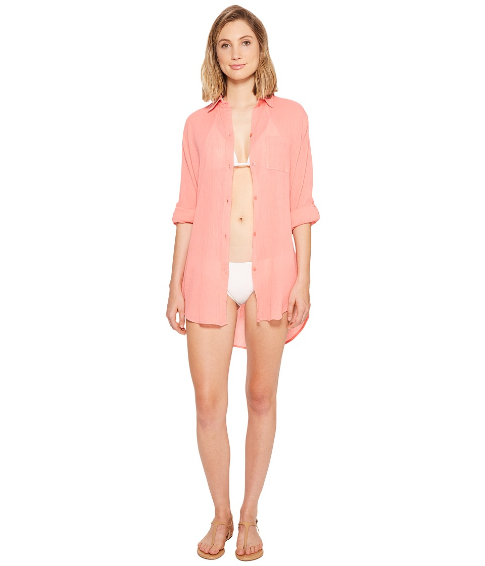 Kenneth Cole City Covers Collared Shirtdress Cover-Up (Coral) Women