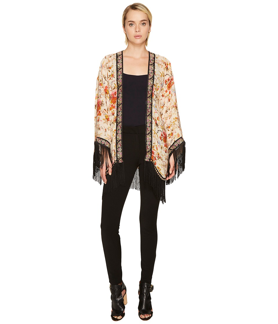 The Kooples - Kimono with Embroidered Flower Stripes and Fringes (Multi) Women's Coat