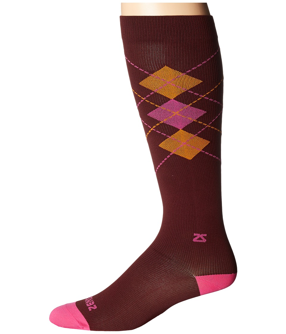 Zensah - Fresh Legs Classic Argyle Compression Socks (Burgundy/Hot Pink) Crew Cut Socks Shoes
