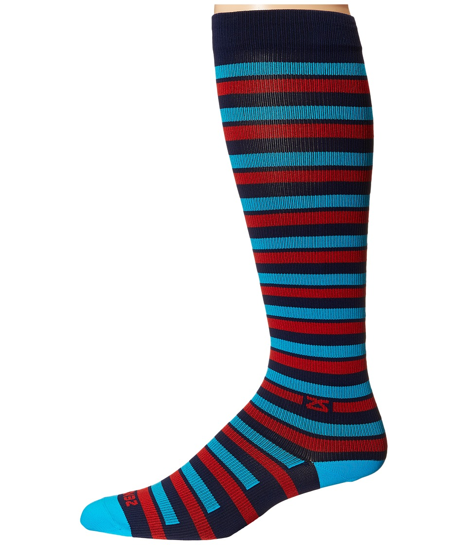 Zensah - Fresh Legs Even Stripes Compression Socks (Navy/Red) Crew Cut Socks Shoes