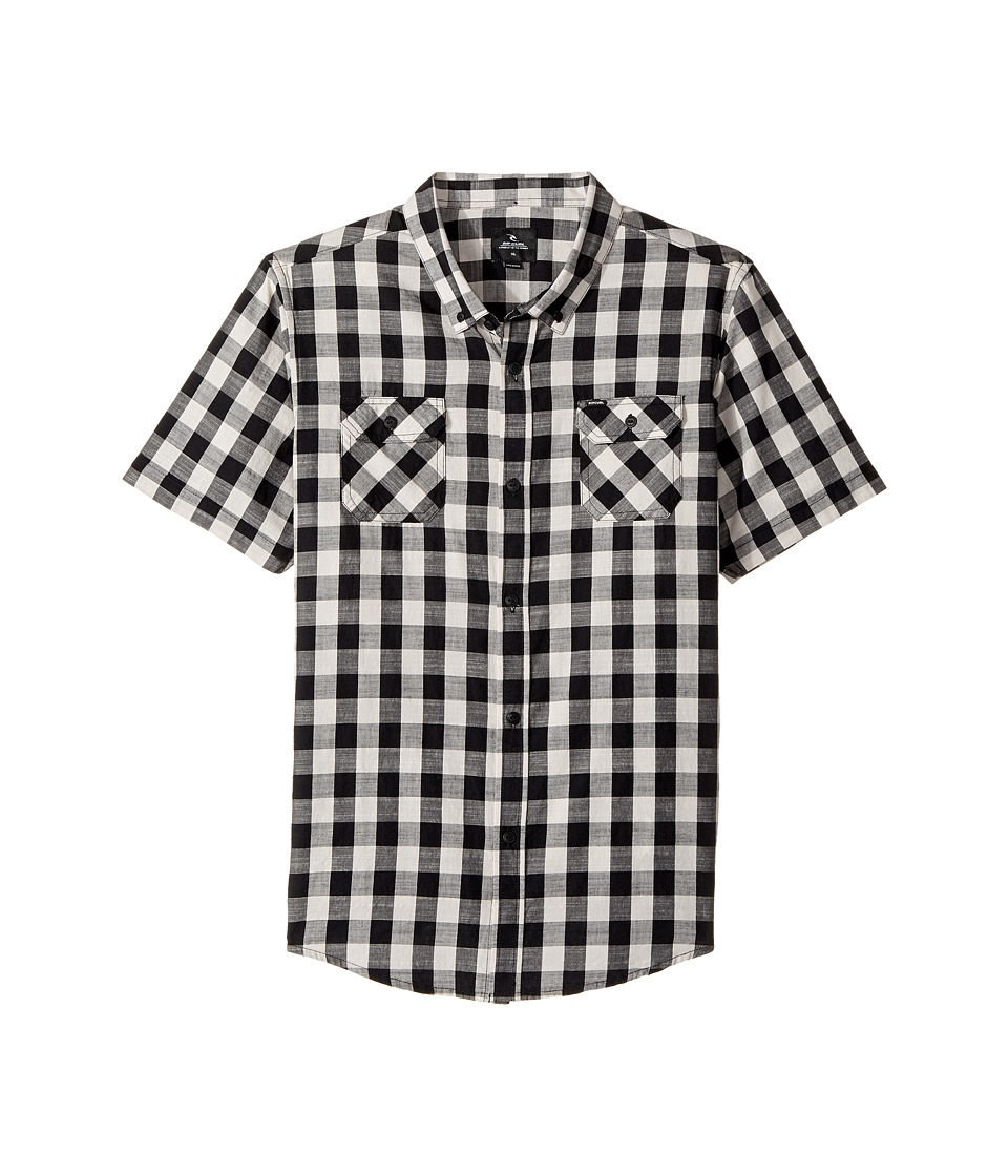 Rip Curl Kids - Check Swing Short Sleeve Shirt (Big Kids) (Black) Boy's Clothing