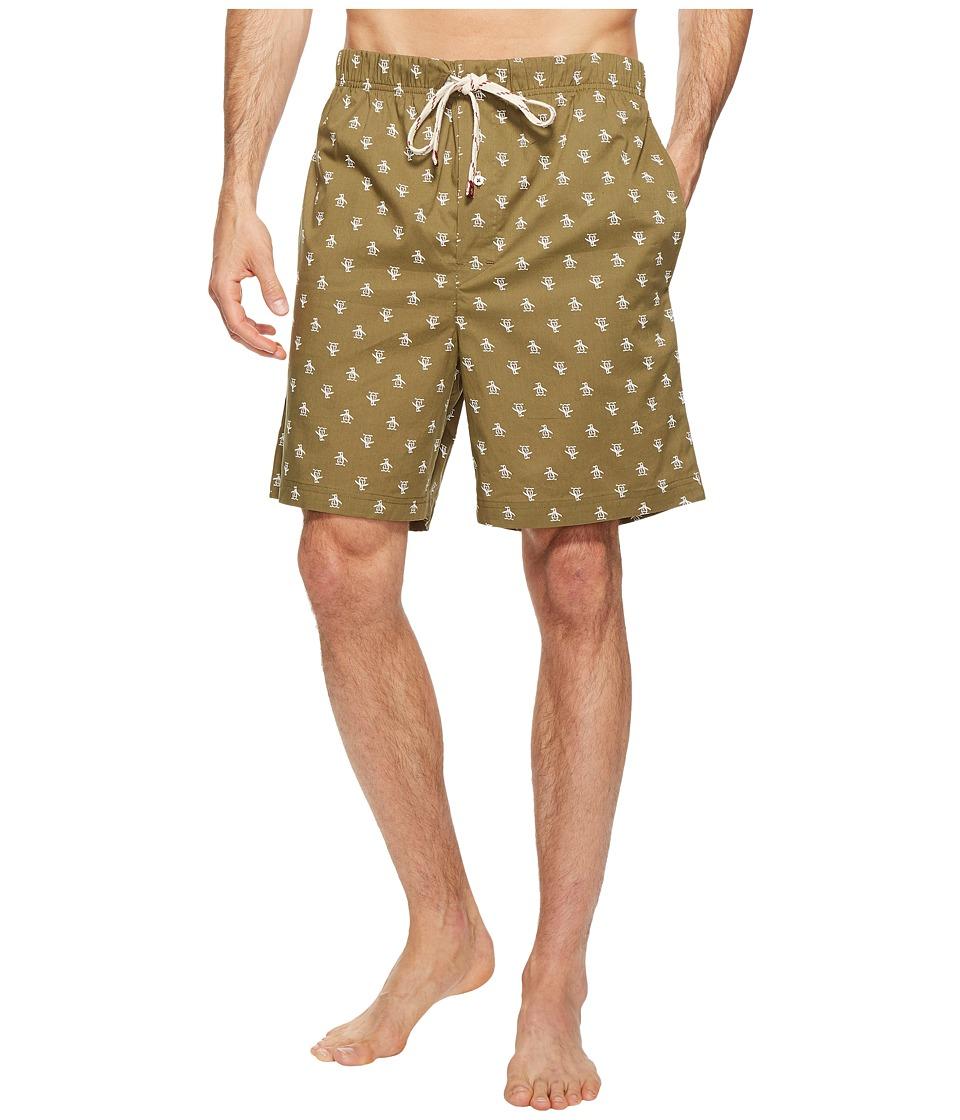 Original Penguin - Short Woven Jam (Burnt Olive) Men's Pajama