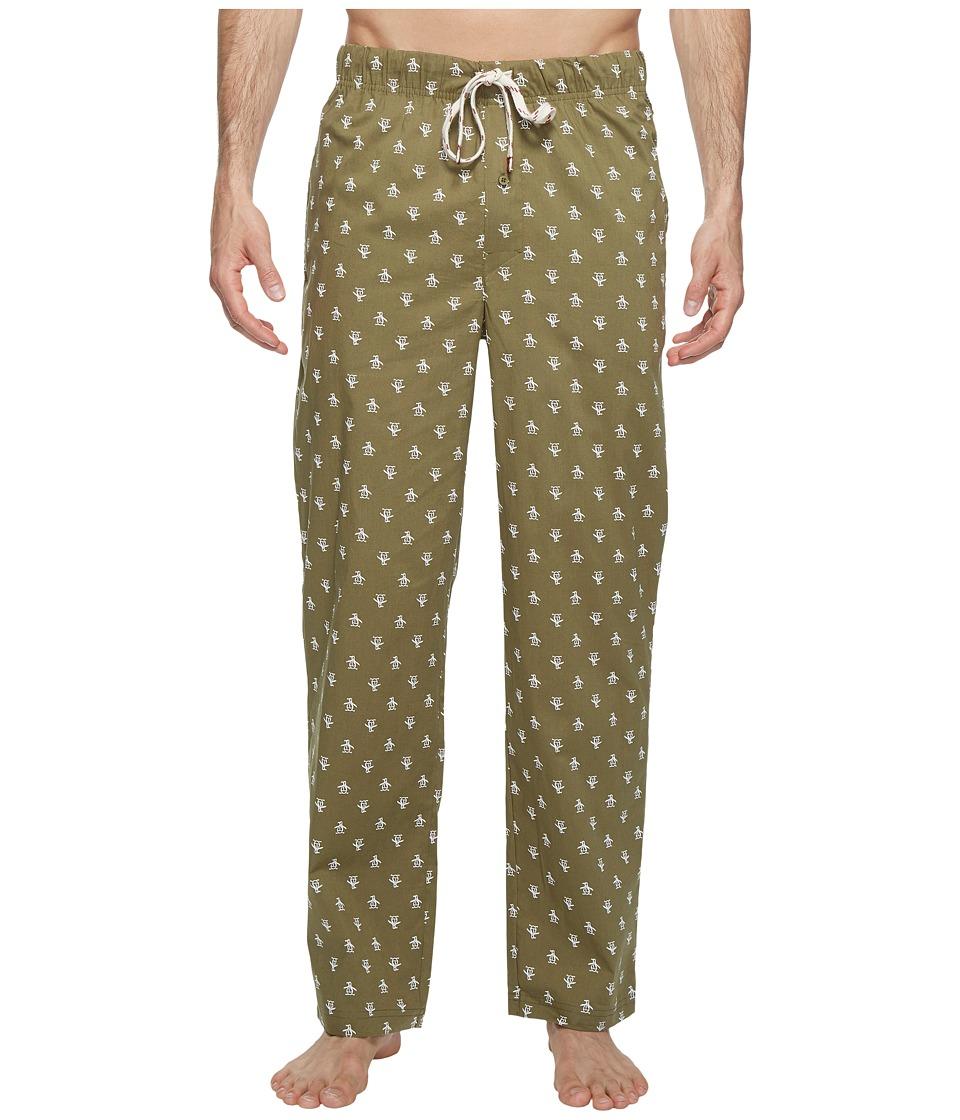 Original Penguin - Single Woven Pants (Burnt Olive) Men's Pajama