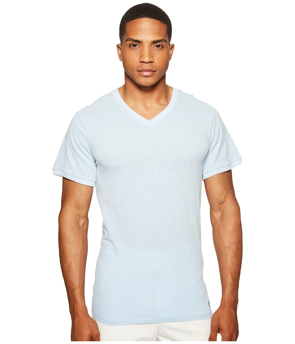 Original Penguin - V-Neck Short Sleeve (Blue Bell) Men's Clothing