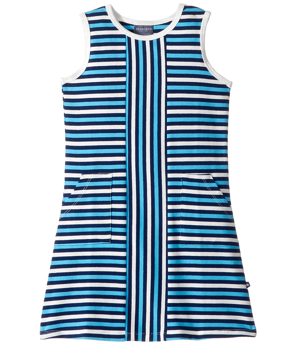 Toobydoo - Blue Stripe Alexia Dress (Toddler/Little Kids/Big Kids) (Blue/White/Navy) Girl's Dress