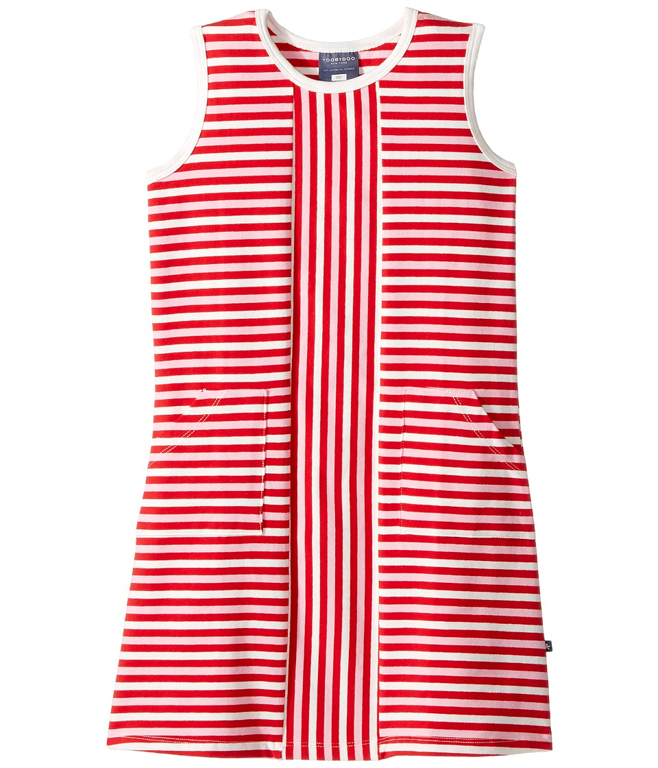 Toobydoo - Red Stripe Alexia Dress (Toddler/Little Kids/Big Kids) (Red/White/Pink) Girl's Dress
