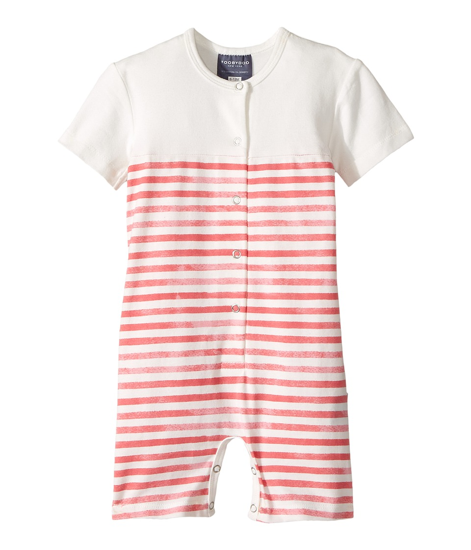 Toobydoo - Red Stripe Henley Shortie Jumpsuit (Infant) (Red/Stripe) Boy's Jumpsuit & Rompers One Piece