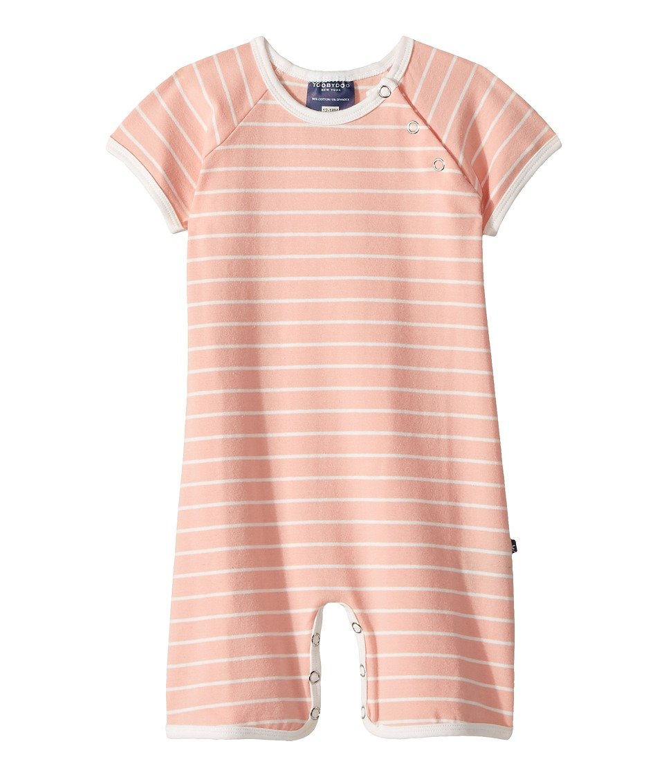 Toobydoo - Peach White Pinstripe Shortie Jumpsuit (Infant) (Peach/White) Girl's Jumpsuit & Rompers One Piece