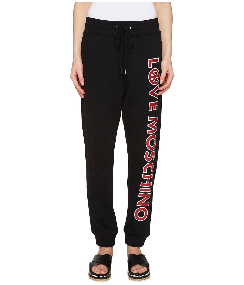 LOVE Moschino - Logo Print Sweatpants (Black) Women's Clothing