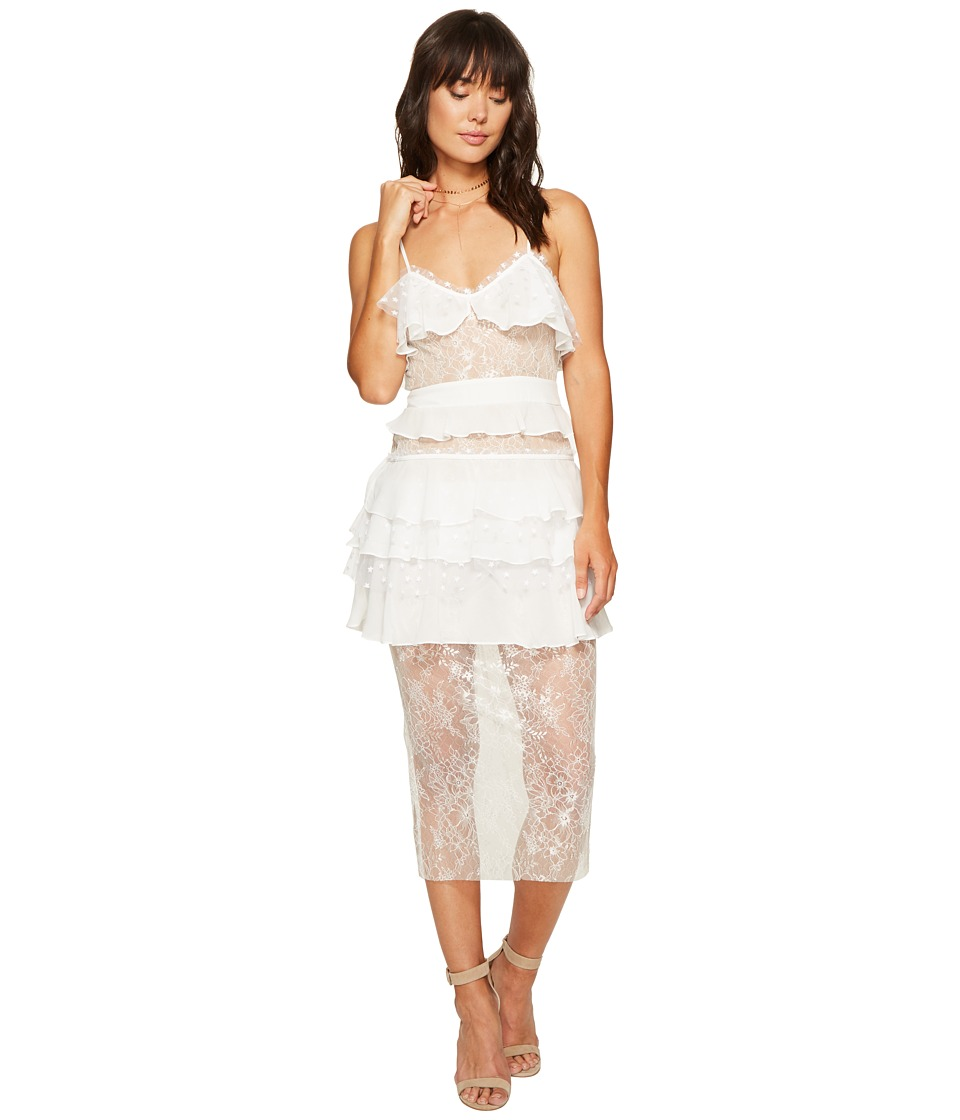 For Love and Lemons - Cosmic Midi Lace Dress (White) Women's Dress