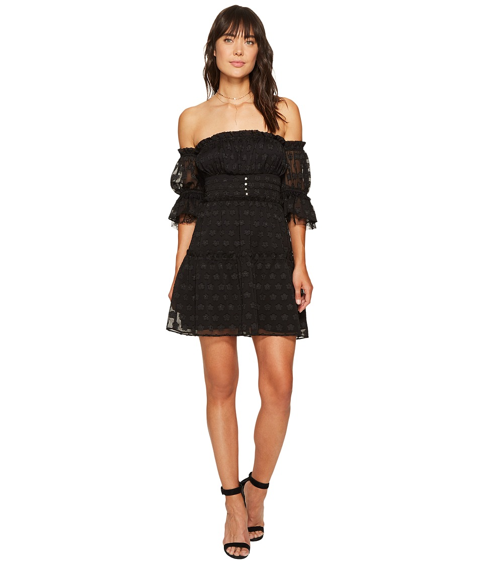 For Love and Lemons - Modern Love Off Shoulder Dress (Black Daisy) Women's Dress