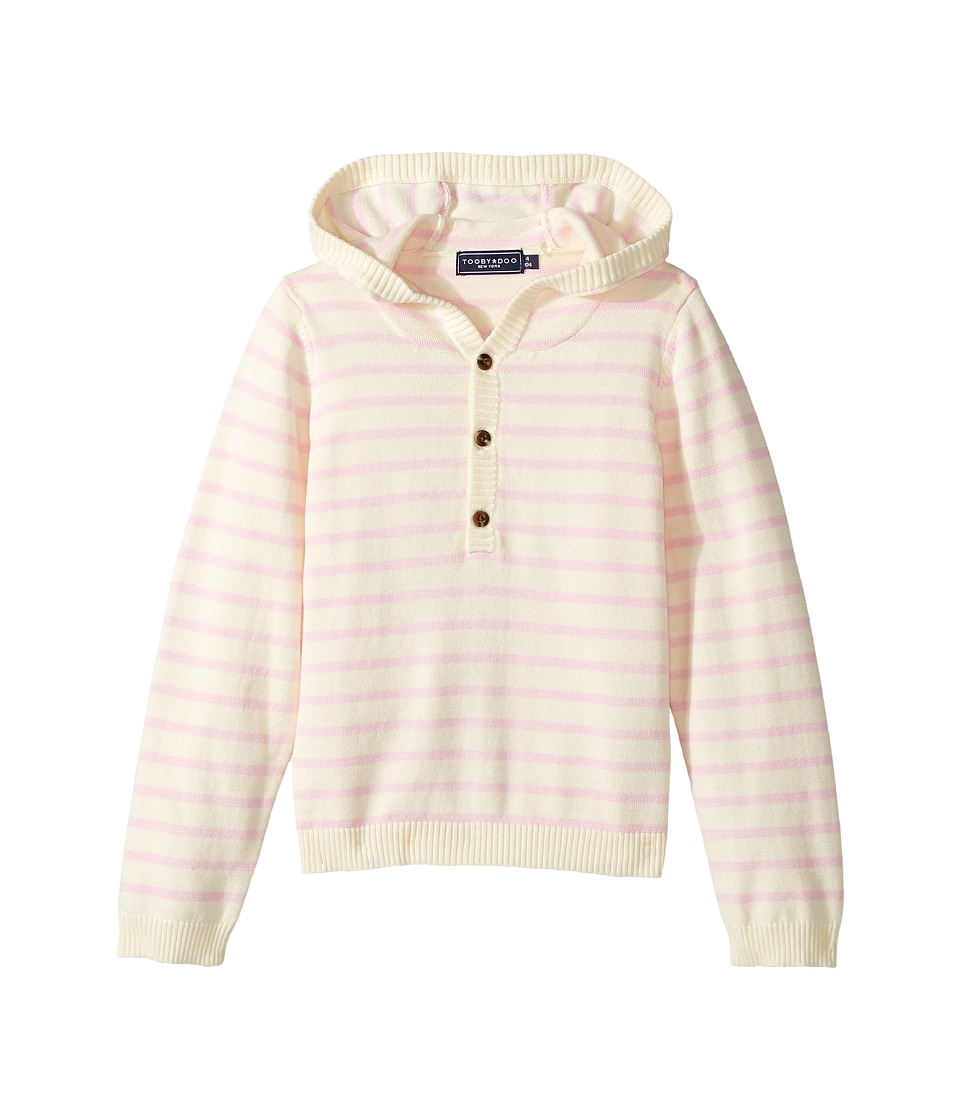Toobydoo - Cotton Cashmere Light Pink Henley Beach Hoodie (Infant/Toddler) (Light Pink/White) Girl's Sweatshirt