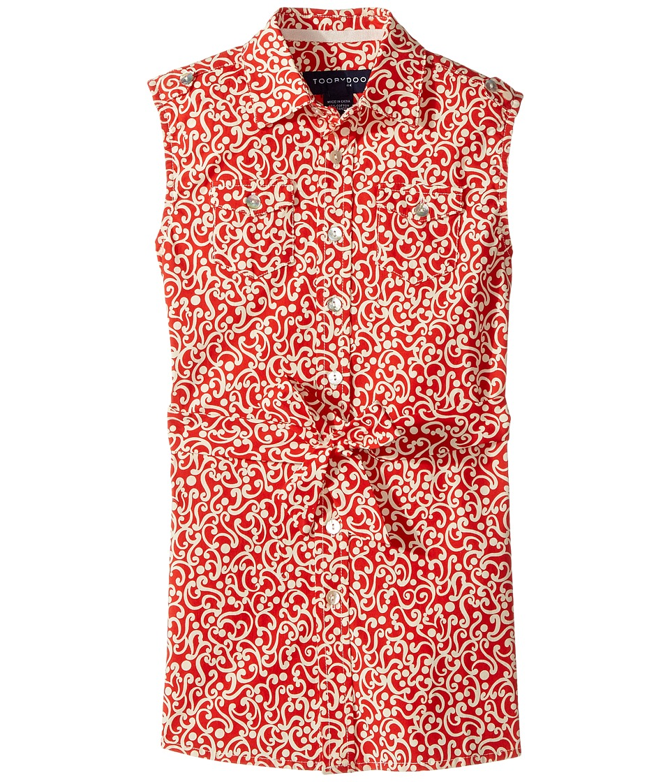 Toobydoo - Red White Sleeveless Shirtdress (Toddler/Little Kids/Big Kids) (Red/White) Girl's Dress