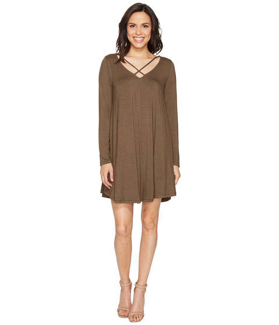 Culture Phit - Mille Long Sleeve Dress with Strap Detail (Olive) Women's Dress