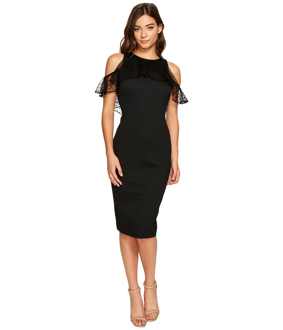 Christin Michaels Macy Sleeveless Lace Ruffle Dress (Black) Women