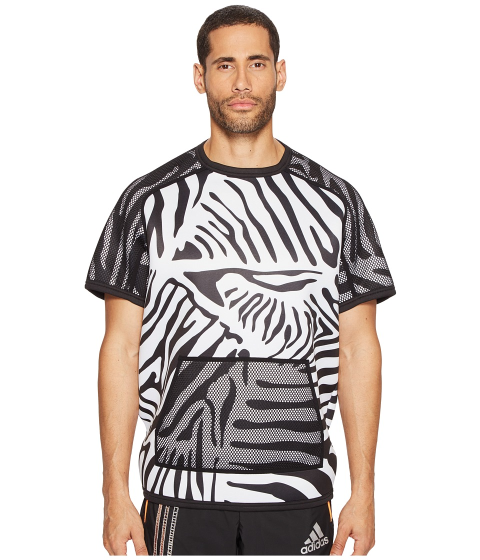 adidas x Kolor - Short Sleeve Crew (White/Black) Men's Short Sleeve Pullover