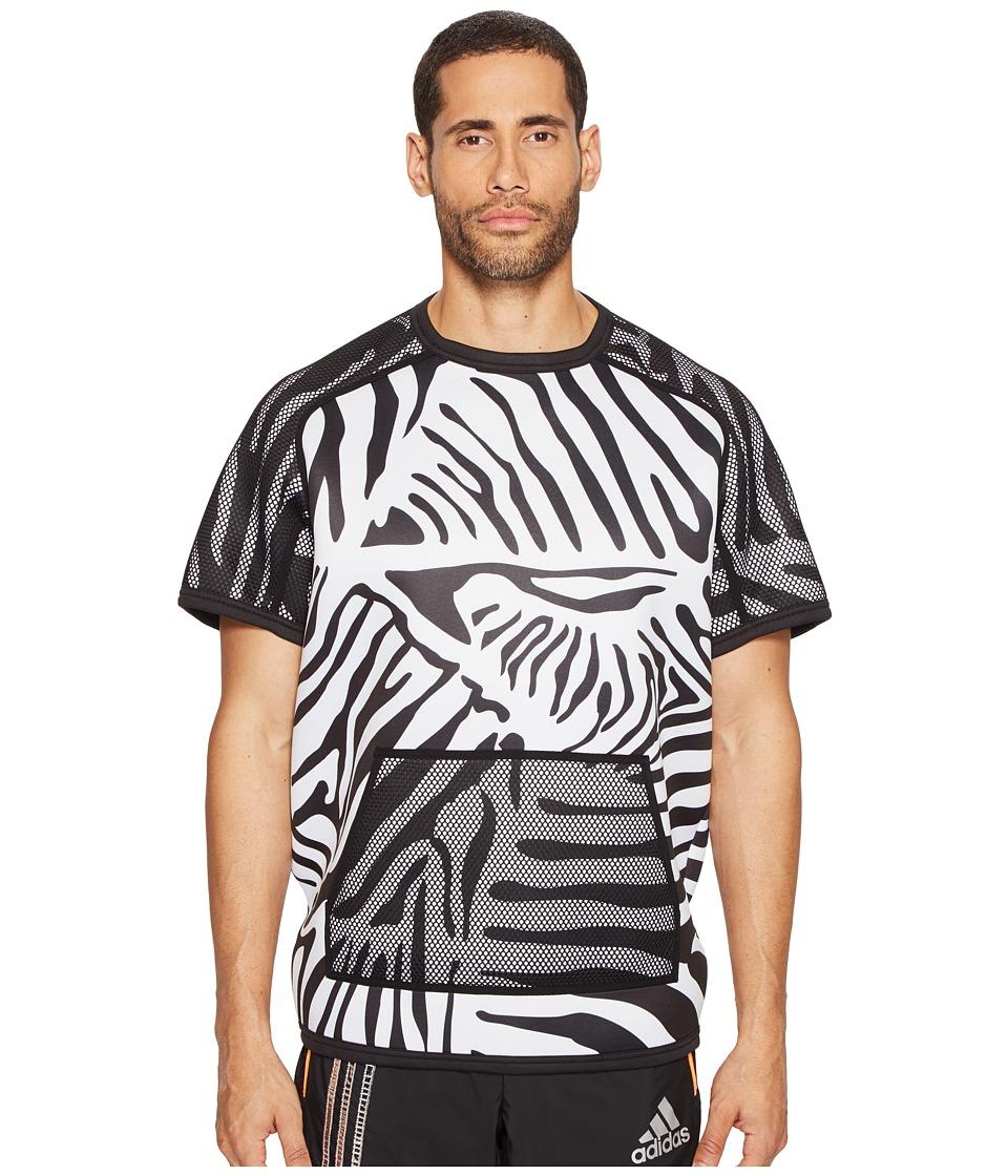 adidas x Kolor - Short Sleeve Crew (White/Black) Men's Short Sleeve Pullover