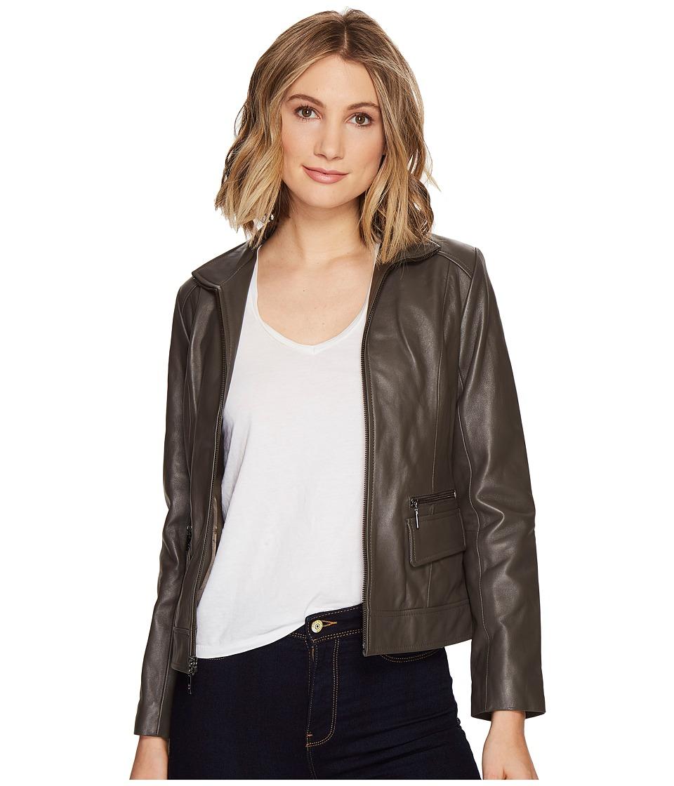Cole Haan - 23 Zip Front Wing Collar Jacket with Exposed Zip Pockets Pocket Flaps (Dove) Women's Coat
