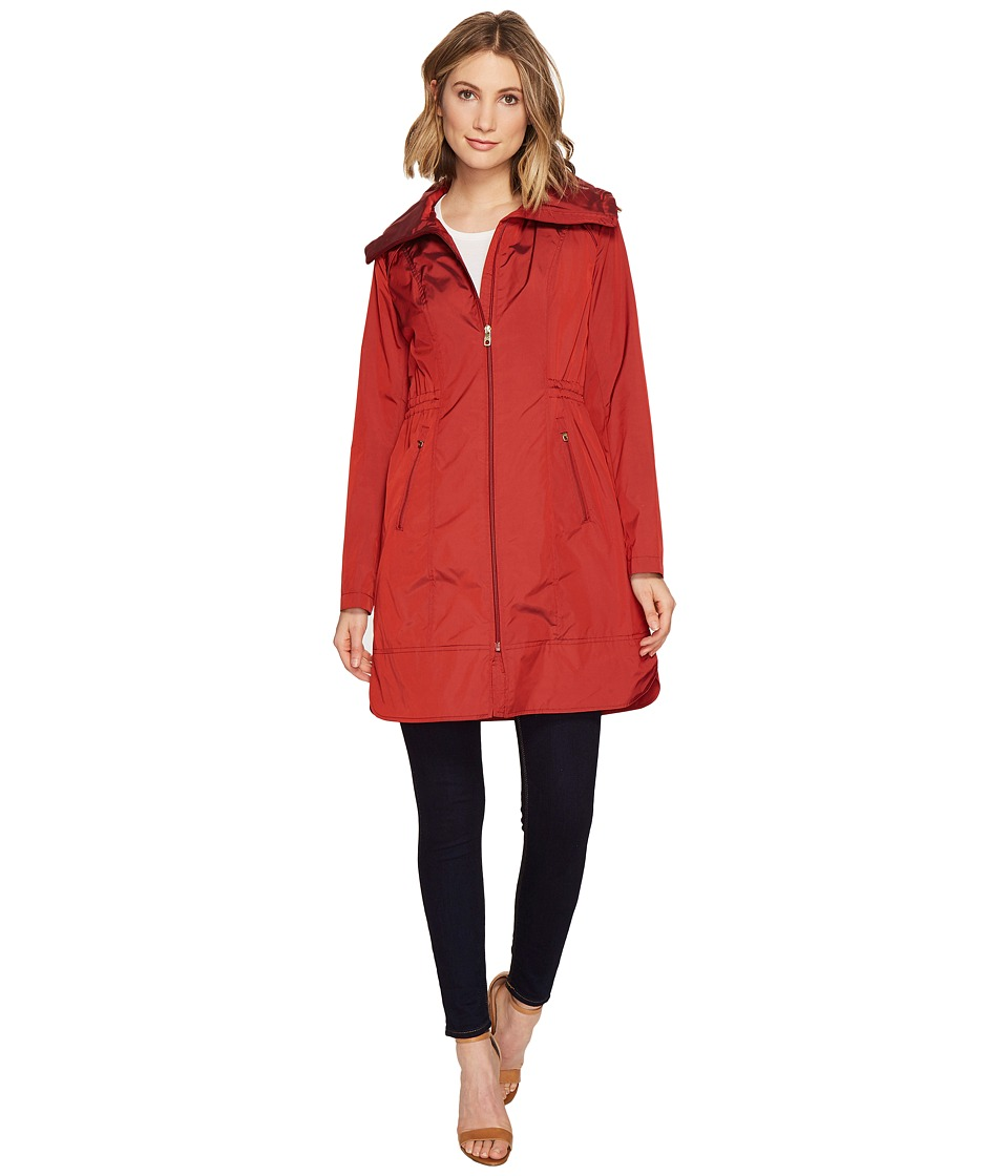 Cole Haan - 36 Single Breasted Rain Jacket with Packable Hood (Garnet) Women's Coat