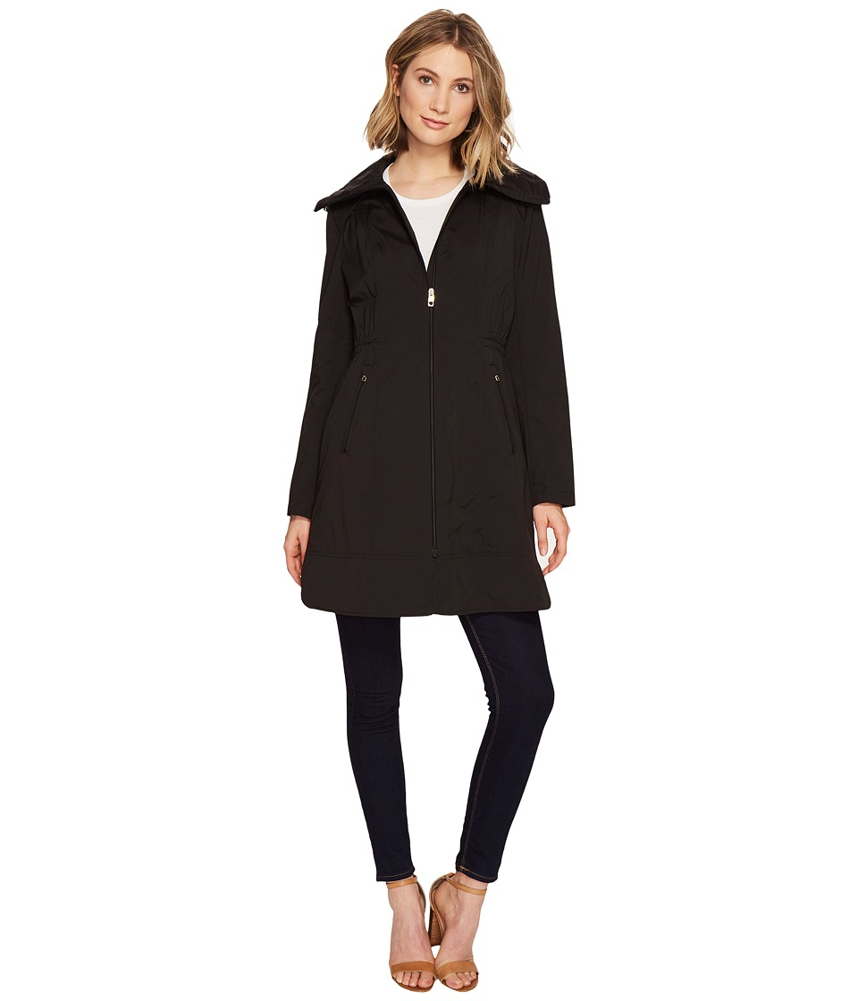 Cole Haan - 36 Single Breasted Rain Jacket with Packable Hood (Black) Women's Coat