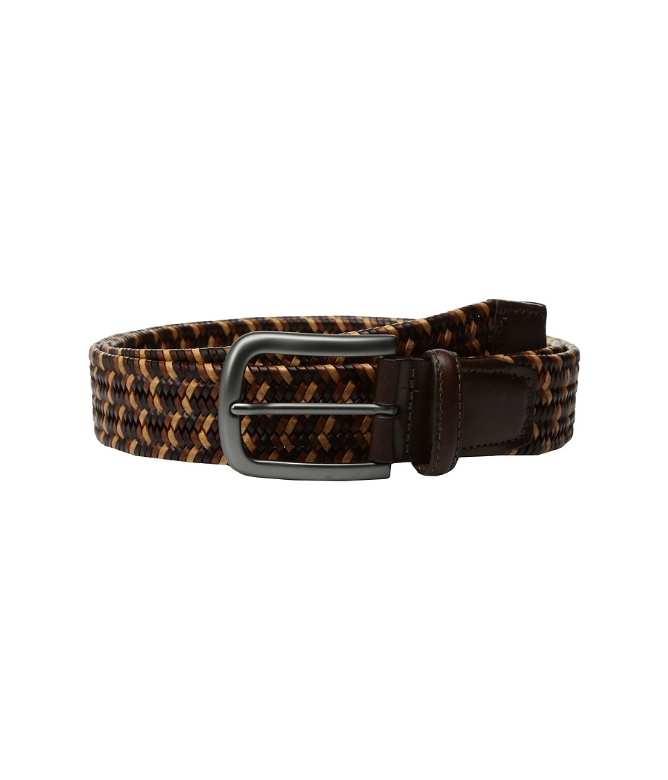 Torino Leather Co. - 35mm Italian Mini Strand Woven Stretch Leather (Brown/Tan/Cognac) Men's Belts