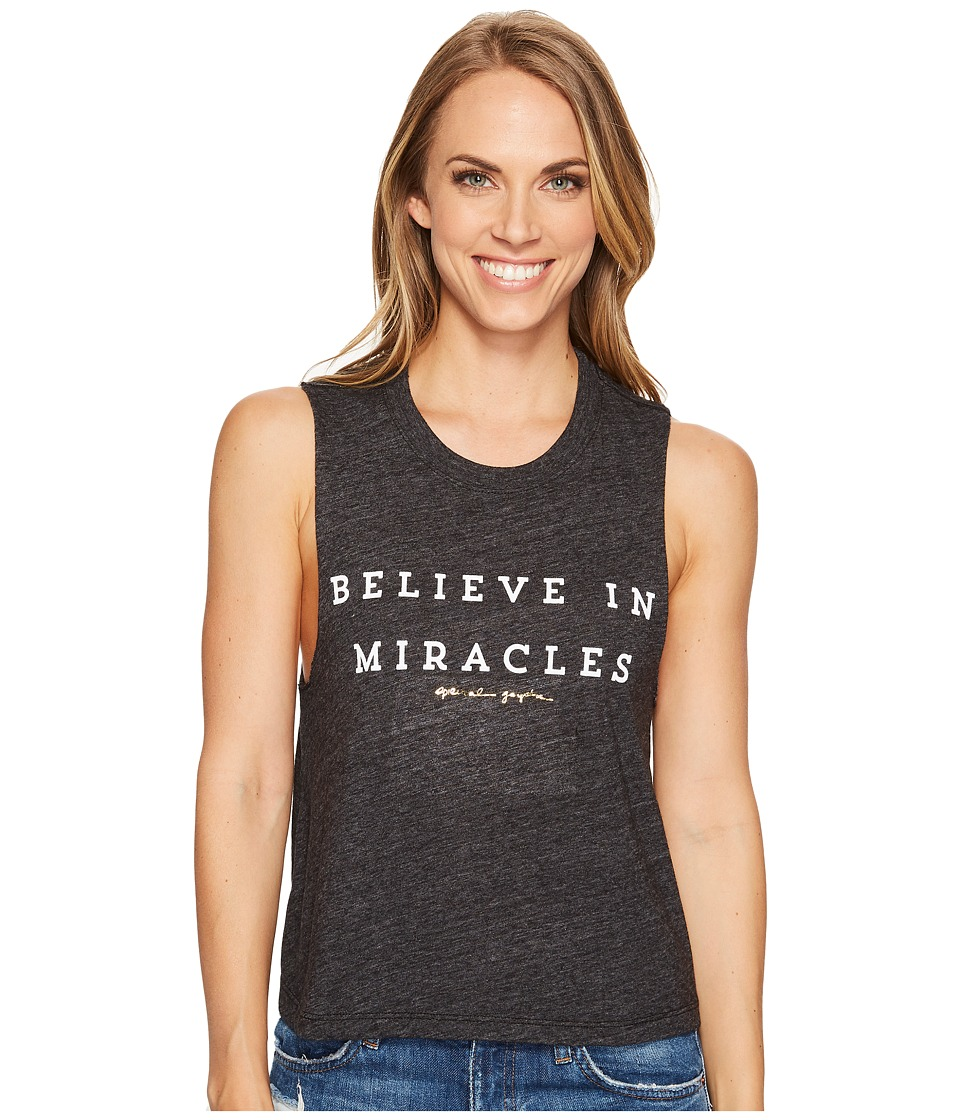 Spiritual Gangster - Believe In Miracles Crop Tank Top (Vintage Black) Women's Sleeveless