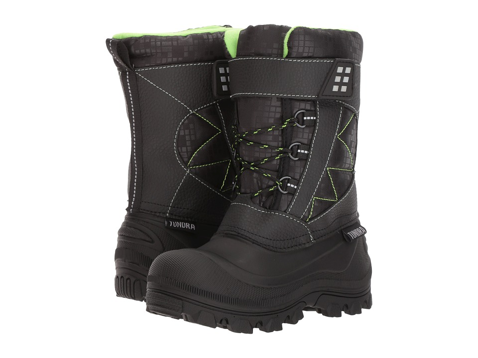 Tundra Boots Kids Nova (Little Kid/Big Kid) (Black/Lime) Boys Shoes