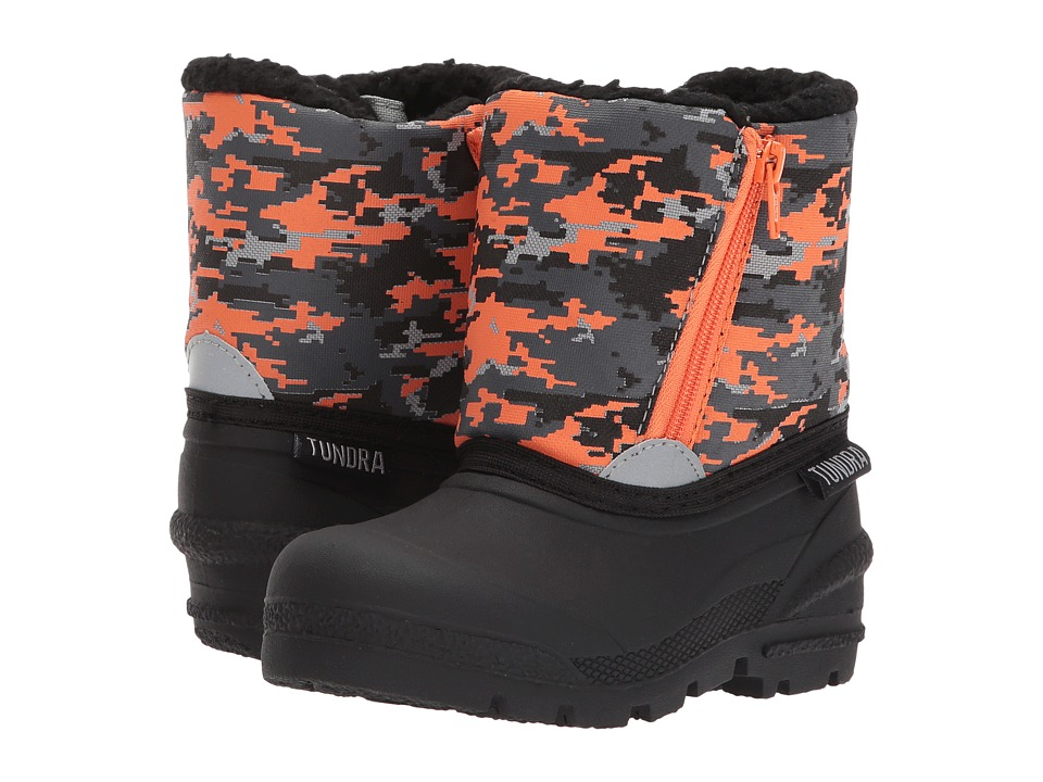 Tundra Boots Kids Lucky (Toddler) (Black/Orange) Boys Shoes