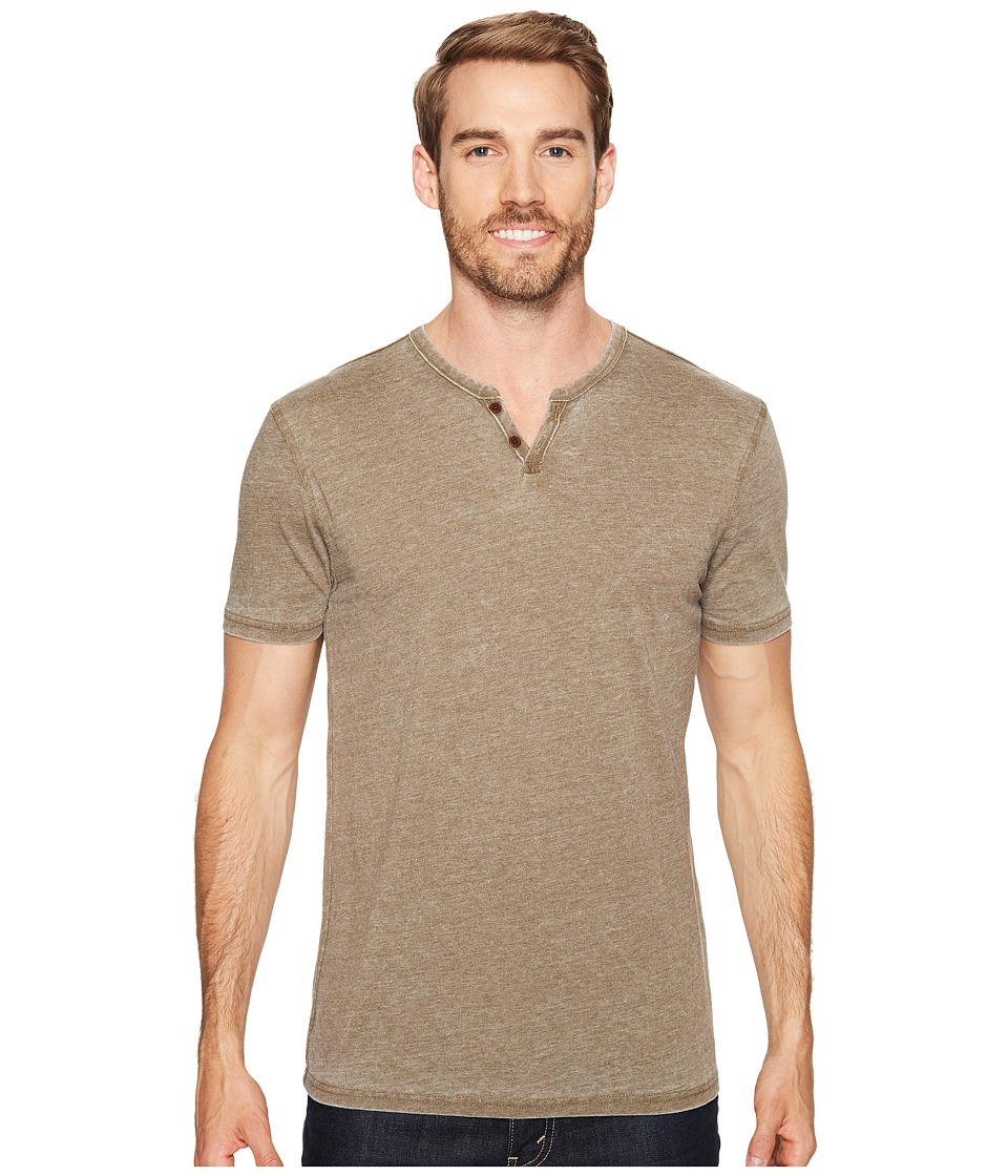 Lucky Brand - Burnout Notch Neck Tee (Dark Olive) Men's T Shirt
