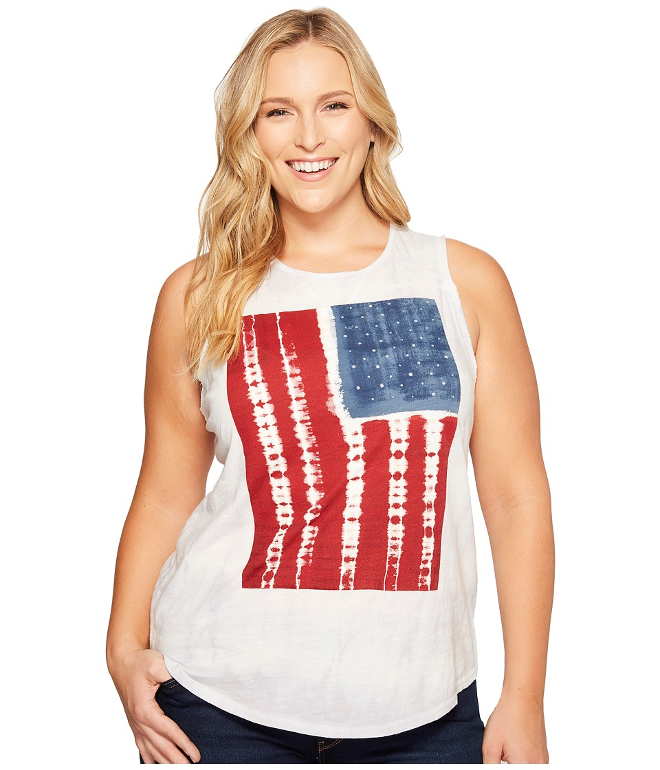Lucky Brand - Plus Size Tie-Dye Flag Tee (Grey Multi) Women's T Shirt