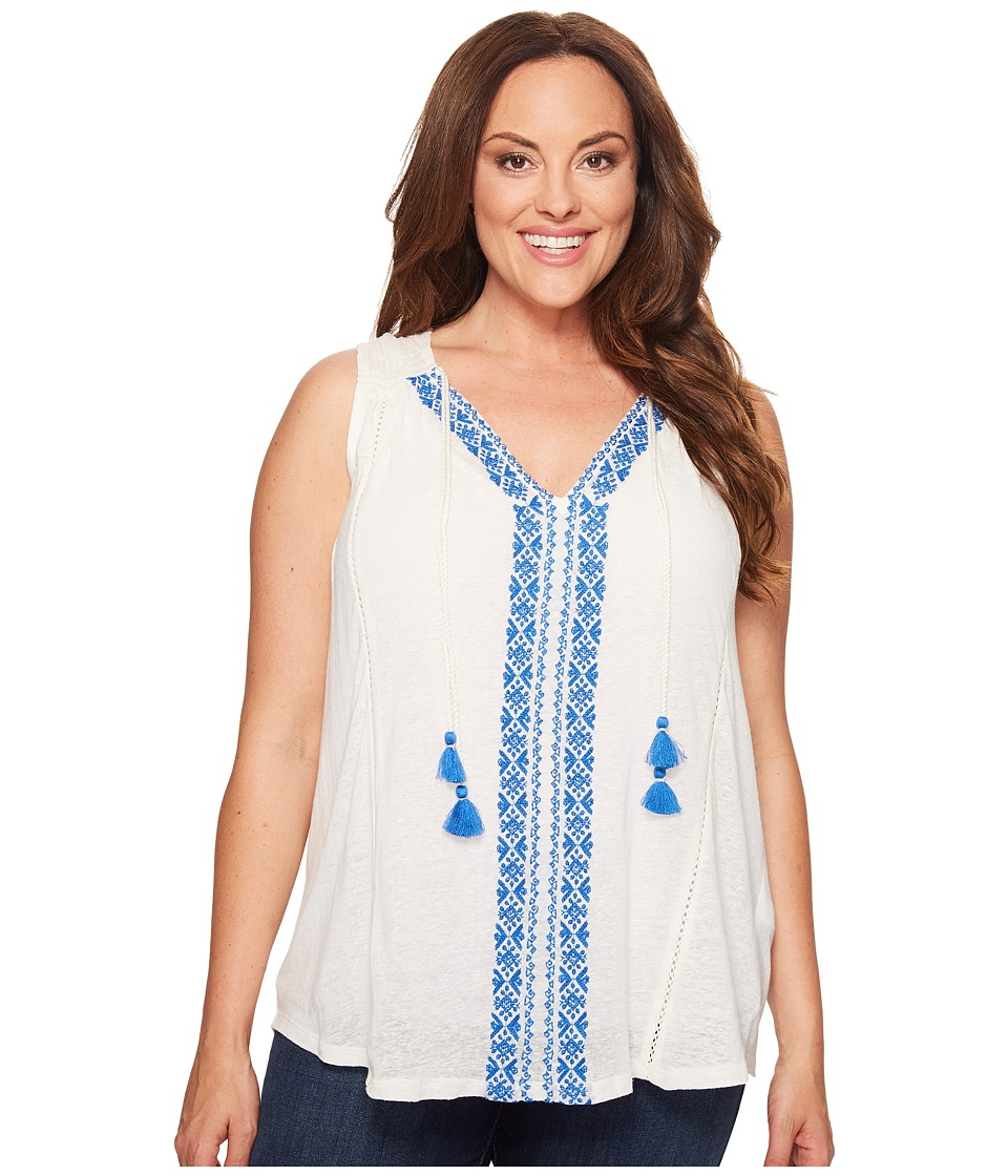 Lucky Brand - Plus Size Embroidered Center Front Top (Marshmallow) Women's Clothing