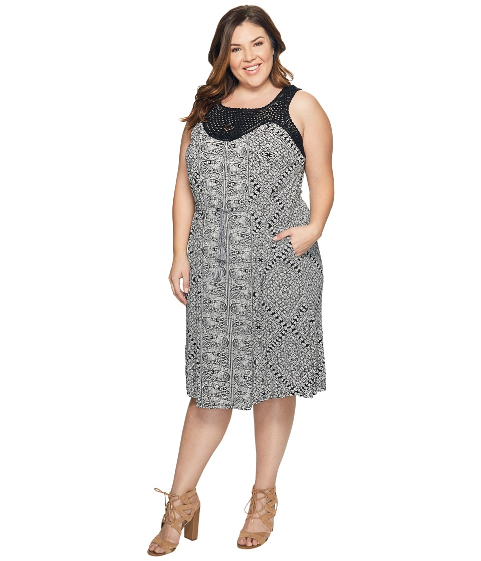 Lucky Brand - Plus Size Knit Macrame Dress (Black Multi) Women's Dress