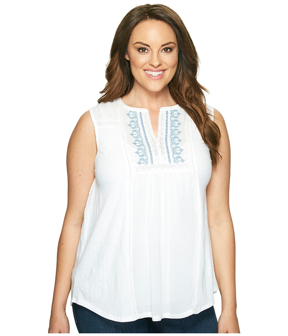 Lucky Brand - Plus Size Embroidered Pintuck Tank Top (Bright White) Women's Sleeveless